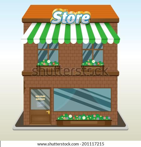 Icon of the facade of a shop store or cafe Eps 10 - stock vector