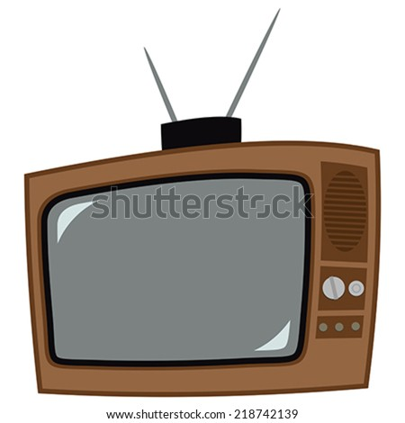Icon of the old television with antenna - stock vector