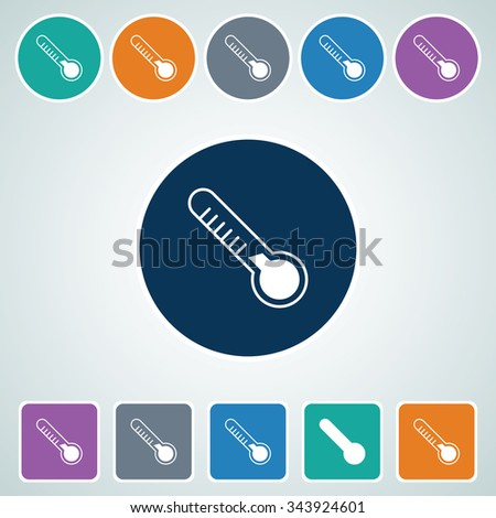 Icon of Thermometer in Multi Color Circle & Square Shape. Eps-10. - stock vector