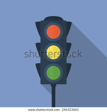 Icon of traffic light. Flat style - stock vector