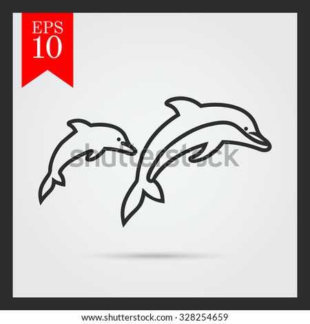 Icon of two jumping dolphins