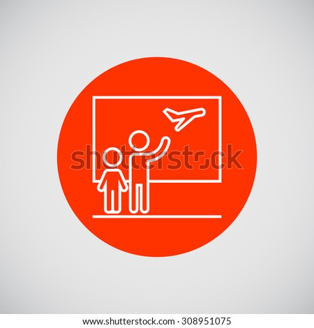 Icon of two people silhouettes seeing someone off at airport - stock vector