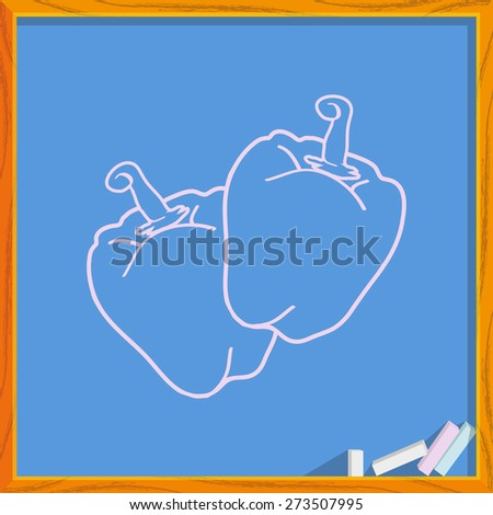 Icon of two sweet pepper. Isolated on background of an school board. Modern vector illustration for web and mobile. - stock vector