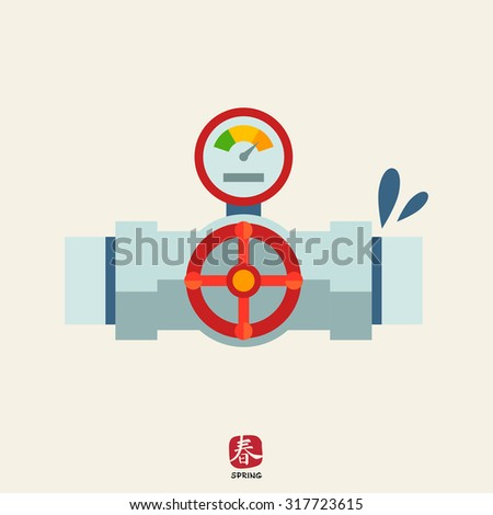 Icon of valve with manometer mounted on leaking pipe - stock vector
