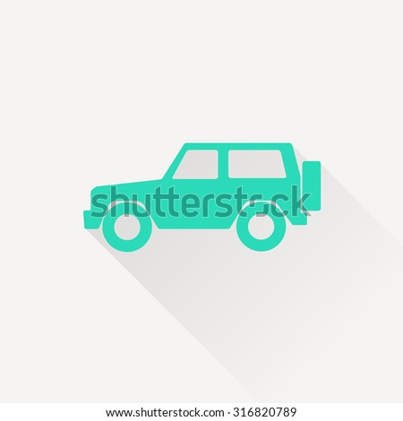 icon of van. icon of jeep. Car vector flat icon