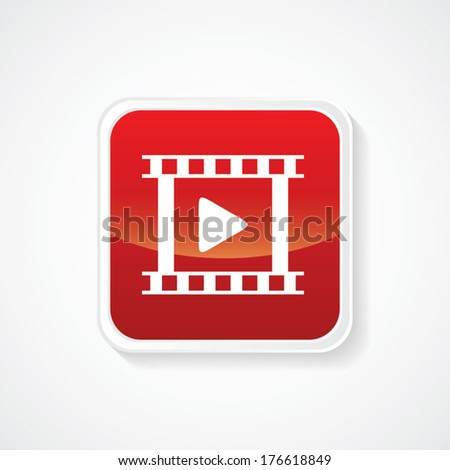 Icon of video on Red Glossy Button. Eps-10 - stock vector