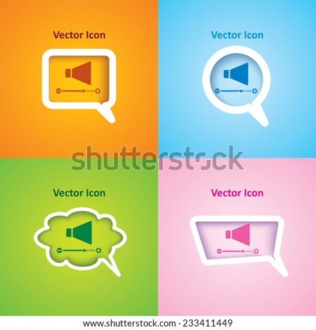 icon of Volume on four kinds of speech bubble with four different color beautiful background. Eps-10. - stock vector