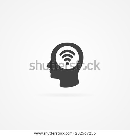 Icon of wireless symbol in human head. Simple flat, gray icon isolated on white.