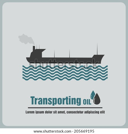 icon oil barge - stock vector