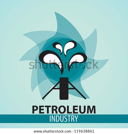 Icon Oilfield with blue background, vector illustration. - stock vector