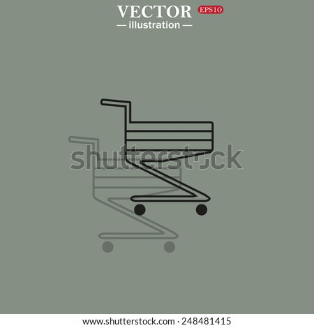 Icon on a green background with shadow. Shoping basket , vector illustration, EPS 10