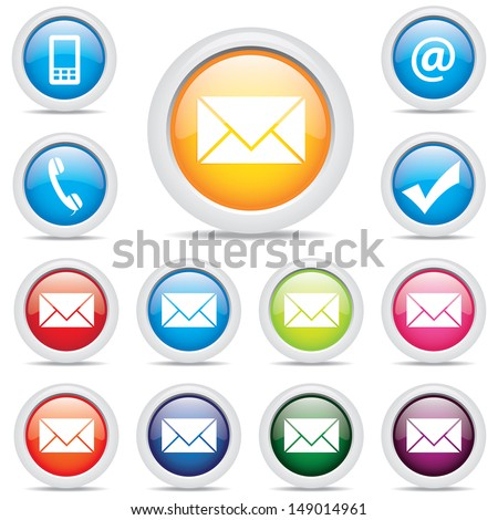 icon pack mail set symbol - stock vector