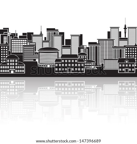 icon: panorama of the city, building. - stock vector