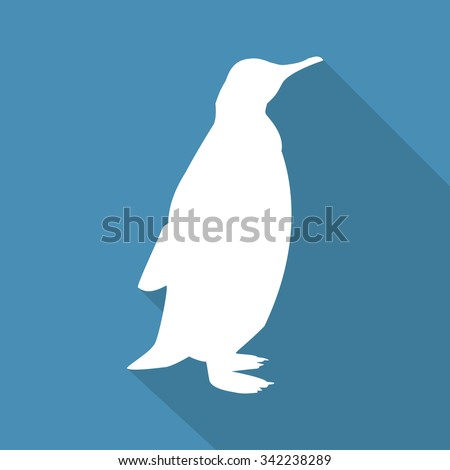 Icon  penguin on a blue background in a flat design. Vector illustration - stock vector