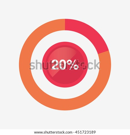 icon pie red and orange chart 20 percent