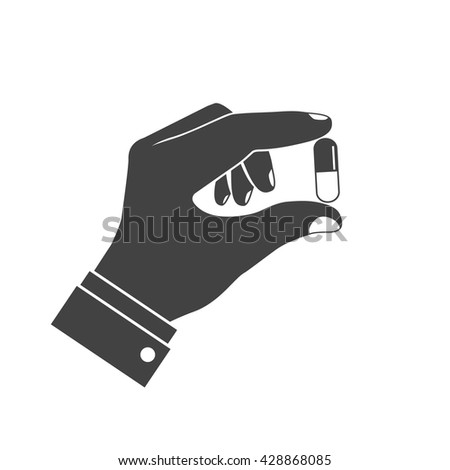 Icon pills in hand. Doctor holding of pills in his hands. Healthcare concept. Tablets in hand. Capsules in their hands. Take pills. Pills in the hands of pharmacist. Vector illustration flat design. - stock vector