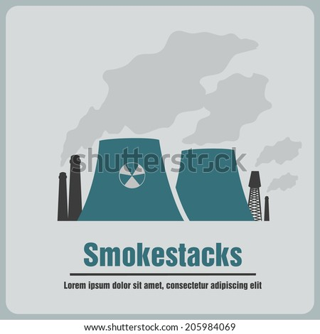 icon pipe factory - stock vector