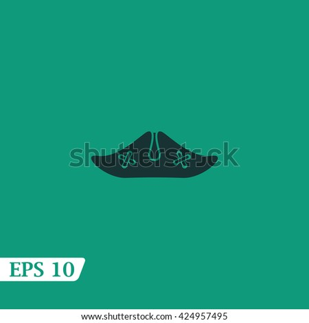 Icon pirate hat with skull and crossbones. - stock vector