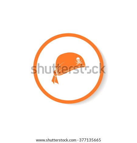 Icon pirate hat with skull and sabers. - stock vector