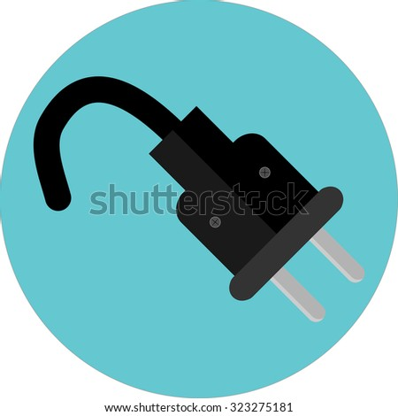 Icon plug. Electricity power energy, electric adapter and wire, cable connection, vector art design abstract unusual fashion illustration - stock vector