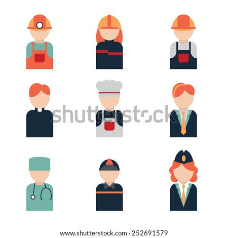 icon profession include: chef, doctor, builder, courier, miner, fireman, air hostess, pastor manager - stock vector