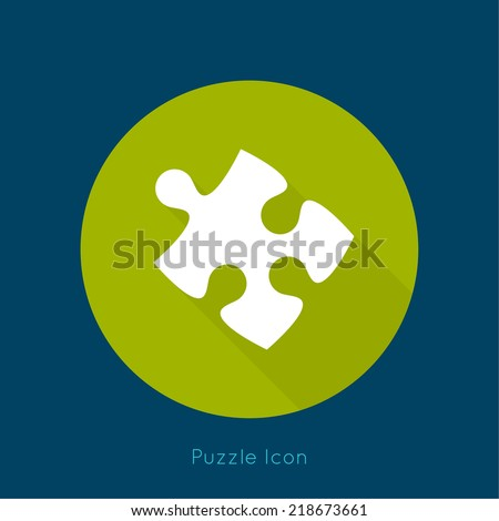 Icon puzzle piece with a long shadow. vector.jigsaw. Business concept of teamwork and making the right decisions. fix. Connect.  - stock vector