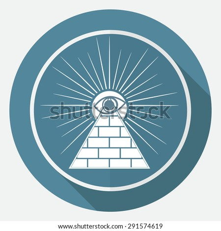 Icon Pyramid on white circle with a long shadow - stock vector