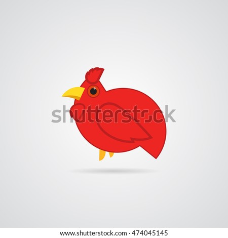 Icon red rooster with a drop shadow