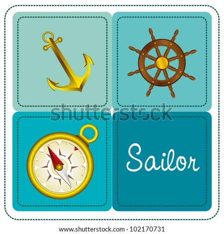 icon sailor, boat has rudder, anchor and compass, vector illustration - stock vector