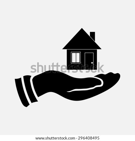 icon selling a home, saving housing, house in hand, fully editable vector image - stock vector