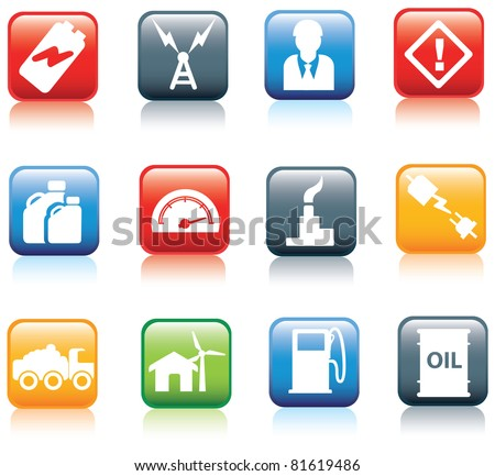 icon series for energy and power and fuel industries - stock vector