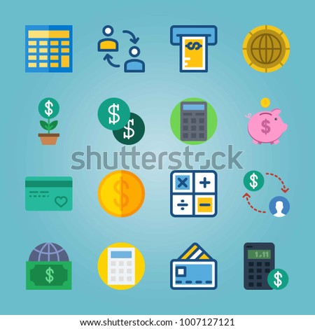 Icon set about Currency. with dollars, money and piggy bank