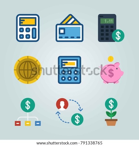 Icon set about Currency. with piggy bank, dollar and money