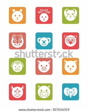 icon set animals on differents colors in square - stock vector