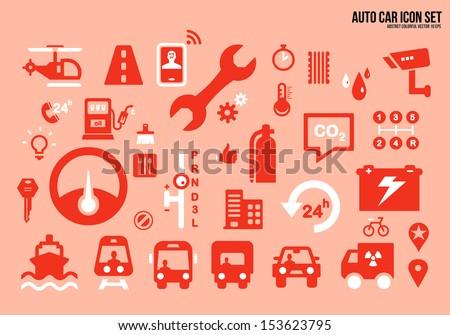 Icon set Auto car - stock vector
