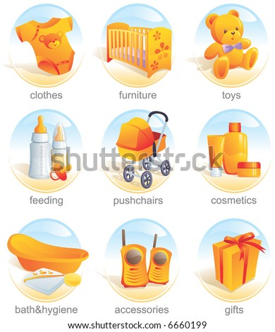 Icon set - baby shopping, clothes, furniture, toys, feeding, pushchairs, cosmetics, bath, hygiene, accessories, gifts. Aqua style. Vector illustration - stock vector