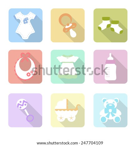 Icon set. Baby soother, socks, beanbag, bodykit, dress, carriage, bear toy - stock vector