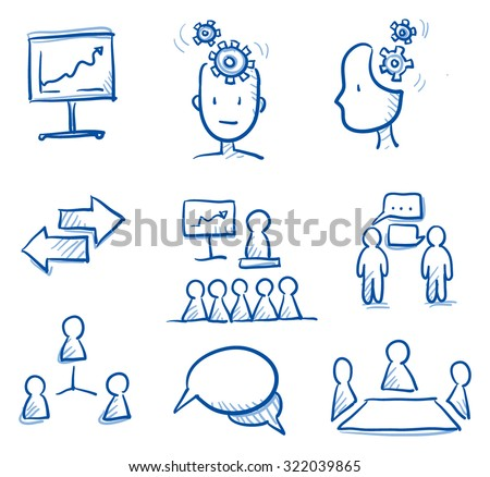 Icon set business team & communication with chart, network, speech bubbles, figures, speech, thinking. hand drawn vector doodle - stock vector
