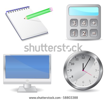 icon set calculator monitor notepad clock isolated on white background - stock vector