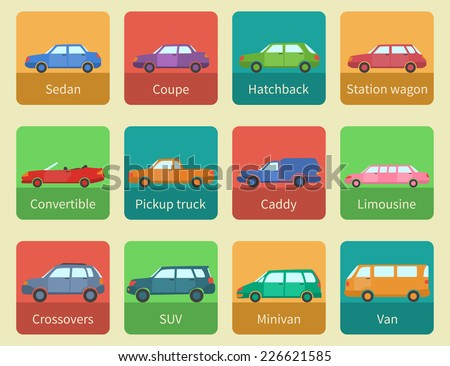 Icon set car body styles made in flat design - stock vector