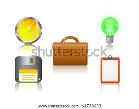 icon set - clock, suitcase, bulb, floppy, note - isolated on white background - stock vector