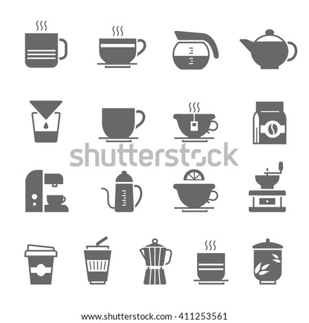 Icon set - coffee and tea - stock vector