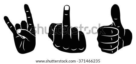 Icon Set Devil Horns, Thumbs Up & Fuck You with 3 icons for the creative use in graphic design