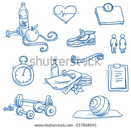 Icon set fitness, with weights, measuring tape, water, apple, running shoe, checklist, scales, stop watch, gymnastic ball, towels, heat. Hand drawn doodle vector illustration. - stock vector