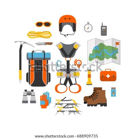 Mountaineering equipment vector