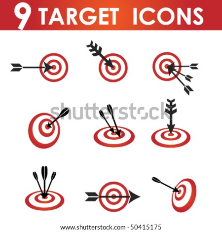 Icon set for red and White target with black arrow - stock vector