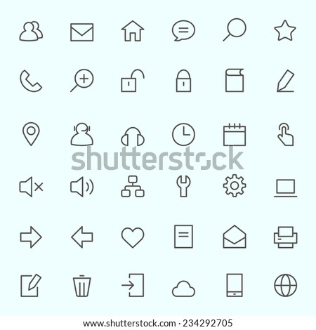 Icon set for web, simple and thin line design - stock vector