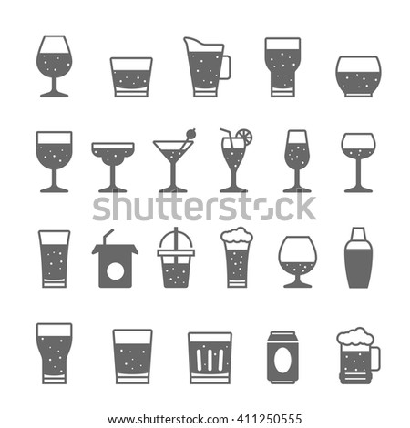 Icon set - glass and beverage