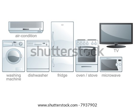 Icon set - home appliances: air-condition, washing machine, dishwasher, fridge, oven, stove, microwave, TV. Aqua style. Vector illustration - stock vector