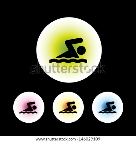 icon set in black background for use - stock vector